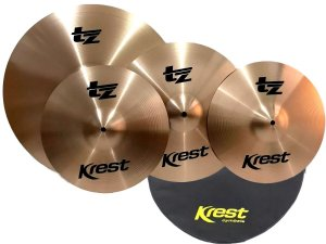 Set Kit Pratos Bateria Krest Tz Set1 14 16 20 com Capa Bag