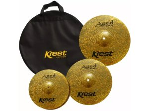 Kit Set Pratos Krest Aged Brass 14 16 20 + Bag ABSET3