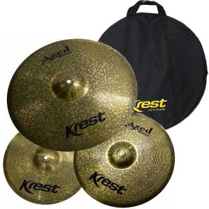 Kit Set Pratos Bateria Aged Brass 13 14 18 Krest ABSET1 +Bag