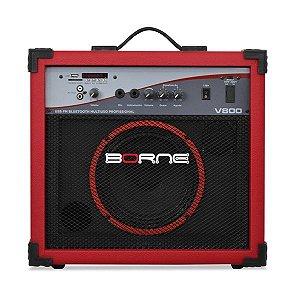 caixa multiuso borne v800 60w usb bluetoth fm vermelho
