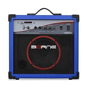 caixa multiuso borne v800 60w usb bluetoth fm azul