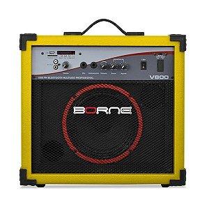 caixa multiuso borne v800 60w usb bluetoth fm amarelo