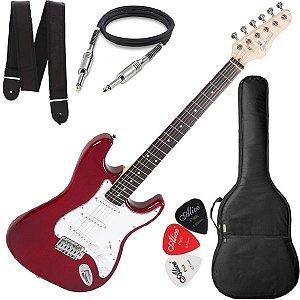 Guitarra Giannini Strato 3 Singles G100 Vermelha Branca Bag