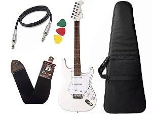Kit Guitarra Stratocaster Branca Eagle Sts001 Capa Regulado