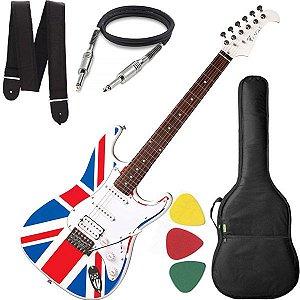 Guitarra Eagle STS 002 UK Stratocaster UK Flag Cabo Alça Bag