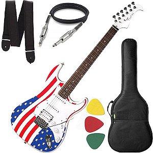 Guitarra Eagle STS 002 US Stratocaster US Flag Cabo Alça Bag