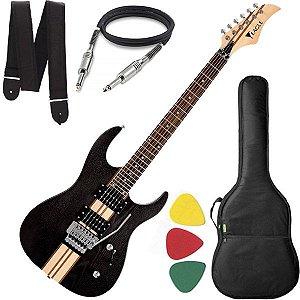 Guitarra Eagle EGT 61 Stratocaster Preto Capa Cabo e Alça