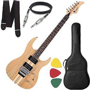 Guitarra Eagle EGT 61 Stratocaster Natural Capa Cabo e Alça