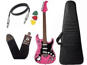 Kit Guitarra Eagle Egp10Cr pink Rosa Capa alça Cabo regulada