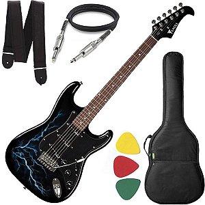 Guitarra Strato EAGLE EGP 10 Preta com Capa Cabo Correia
