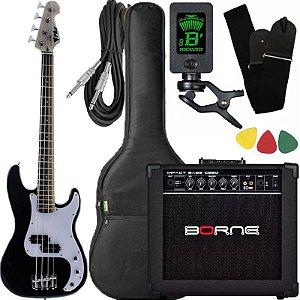 Kit Baixo Infantil Criança Phx Bass jr 3/4 Caixa Borne preto