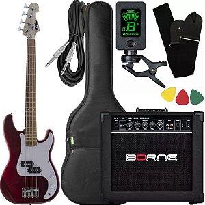 Kit Baixo Infantil Criança Phx Bass jr 3/4 Caixa Borne Red