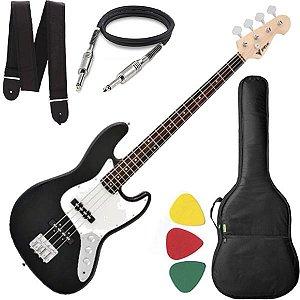 Baixo 4 Cordas Phx Jb4 Jazz Bass Preto Capa Alça