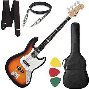 Baixo 4 Cordas Phx Jb4 Jazz Bass Sunburst Capa Alça