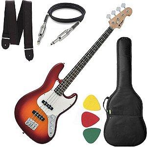 Baixo 4 Cordas Phx Jb4 Jazz Bass Cherry Burst Capa Alça