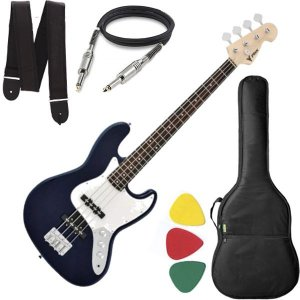 Baixo 4 Cordas Phx Jb4 Jazz Bass Azul Capa Alça