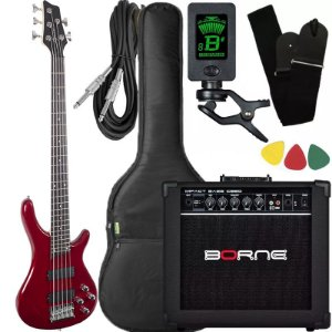 Kit Baixo Giannini Gb205a Vermelho ativo caixa amplificador borne