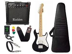 Guitarra Infantil Eletrica Phx Ist1 Preto 3/4 caixa amplificador sheldon