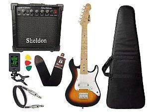 Guitarra infantil Phx Ist1 Sunburst 3/4 caixa amplificador sheldon