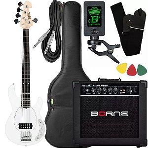 Kit Baixo Tagima Tbm5 Branco ativo caixa amplificador Borne