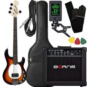 Kit Baixo Tagima Tbm4 Sunburst ativo caixa amplificador Borne