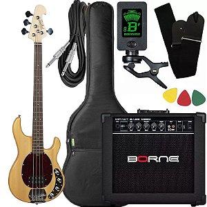 Kit Baixo Tagima Tbm4 Natural ativo caixa amplificador Borne