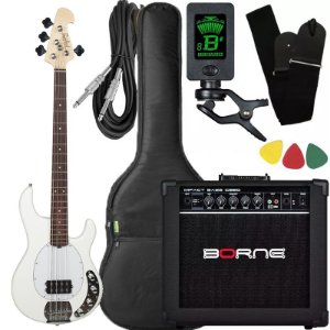 Kit Baixo Ativo Tagima Tbm4 Branco caixa amplificador Borne
