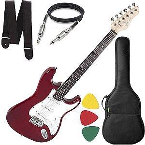 Guitarra Giannini Strato 3 Singles G100 Vermelho Branco Bag