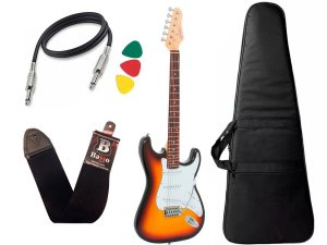 Kit Guitarra Giannini G100 Strato Sunburst e Branco Capa