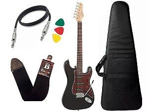 Kit Guitarra Giannini G100 Strato Preto e Vinho Capa Cabo