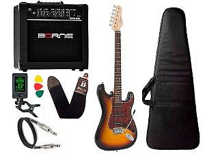 Kit Guitarra Giannini G100 Sunburst e Vinho Cubo Borne Capa