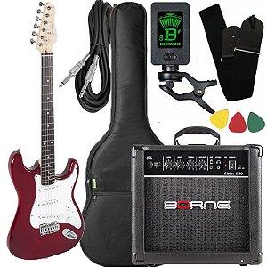 Kit Guitarra Giannini G100 Vermelho Cubo Borne Afinador