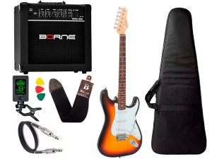 Kit Guitarra Giannini Strato G100 Sunburst Branco Borne