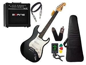 Kit Guitarra Tagima Memphis Mg32 Preto Branco amplificador borne