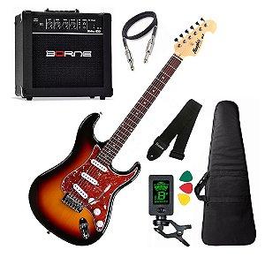 Kit Guitarra Tagima Memphis Mg32 Sunburst amplificador borne