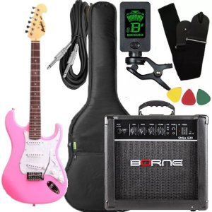 Kit Guitarra Tagima Memphis Mg32 Rosa Borne Capa