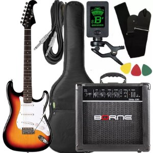 Kit Guitarra Eagle STS001 Sunburst cubo amplificador Borne
