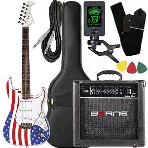 Kit Guitarra Eagle STS 001 Stratocaster US Flag Borne Capa