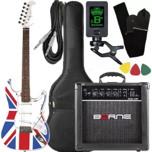 Kit Guitarra Eagle STS 001 Stratocaster UK Flag Borne Capa