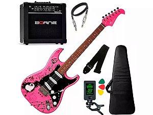 Kit Guitarra Eagle Egp10 Rosa Pink Amplificador Caixa Borne