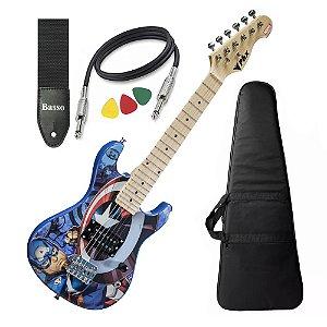 Guitarra Infantil Criança Capitão America Avengers Marvel Capa