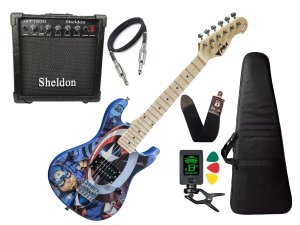Guitarra Infantil Capitão America Avengers Marvel Sheldon