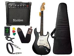Kit Guitarra Tagima Memphis Mg32 Preto fosco cubo Sheldon