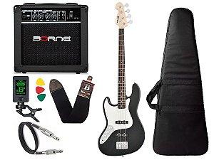 Baixo Phx Jb 4 Jazz Bass 4 Cordas Canhoto Preto amplificador borne