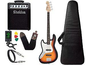 Baixo Phx 4 Cordas Canhoto Jb 4 Jazz Bass Sunburst Sheldon