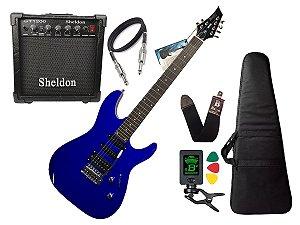 Kit Guitarra Memphis Tagima Mg230 Azul Sheldon