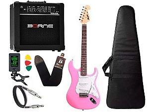 Kit Guitarra Tagima Memphis Mg32 Rosa amplificador borne
