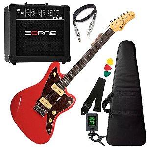 Kit Guitarra  Tagima Tw61 Woodstock Vermelho Amplificador Borne