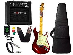 kit Guitarra Tagima TG 530 Woodstock Vermelho Cubo Borne