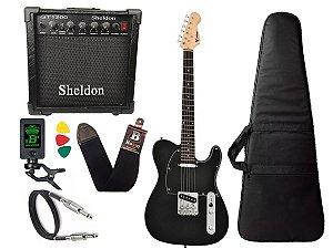Kit Guitarra Telecaster Phx Tl1 Preto Amplificador Sheldon